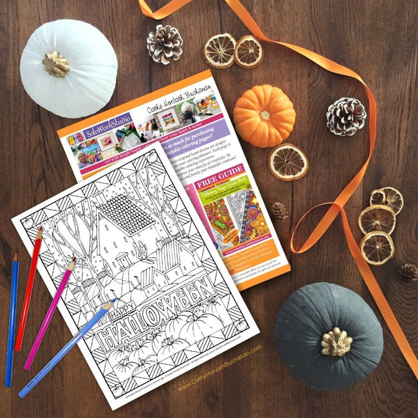 Halloween Haunted House Coloring Page, PDF Download Printable