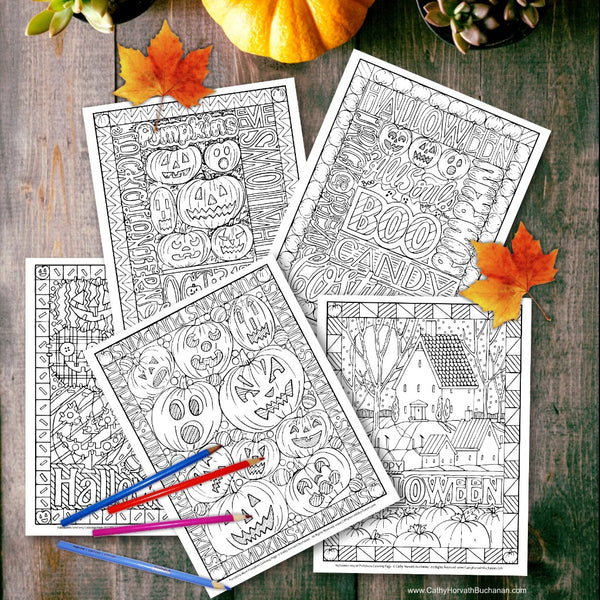 Halloween Coloring 5 Page Coloring Book, PDF Download Printable