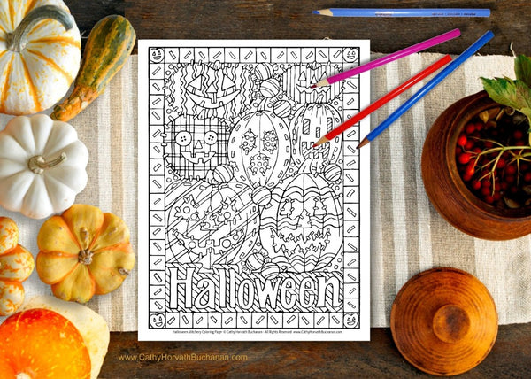 Halloween Pumpkins Stitches Coloring Page, PDF Download Printable