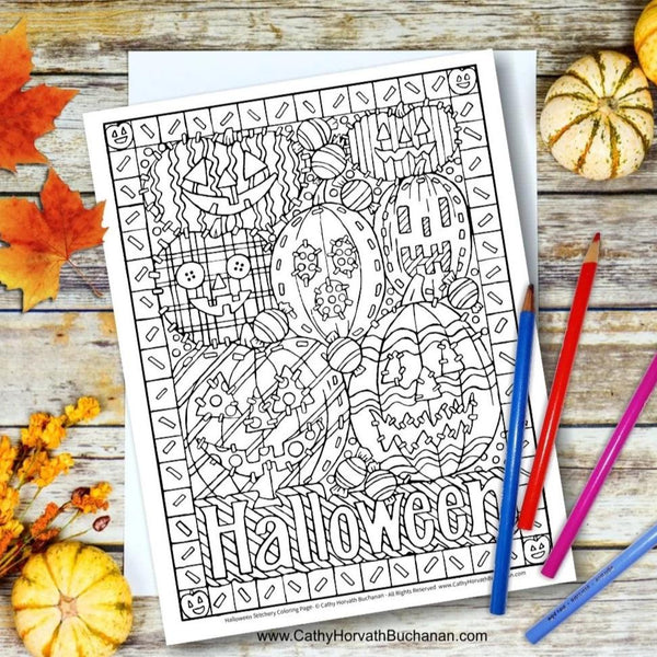 halloween coloring page by cathy horvath buchanan
