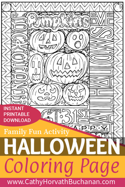 halloween pumpkins words coloring page by cathy horvath buchanan