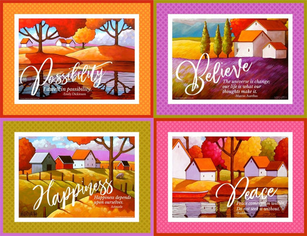 Happiness Set of 4 collection quote art printables, wall art download by Cathy Horvath Buchanan