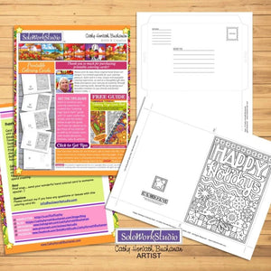 Happy Holidays Coloring Card Kit, Card + Envelope PDF Download Printable