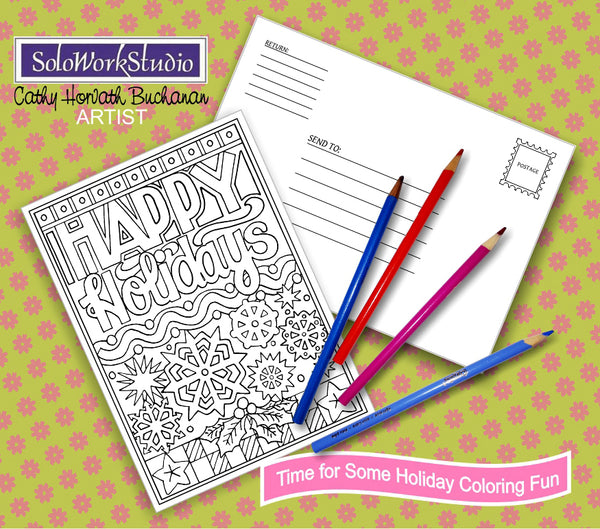 Coloring Cards 4 Set Kit, Festive Christmas Holiday Card Designs + Envelope, Adult Coloring PDF Instant Download, Printable Digital Art