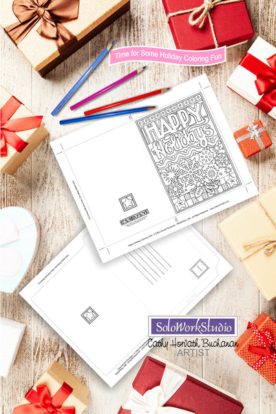 Happy Holidays Coloring Card Kit, Card + Envelope PDF Download Printable by Cathy Horvath Buchanan