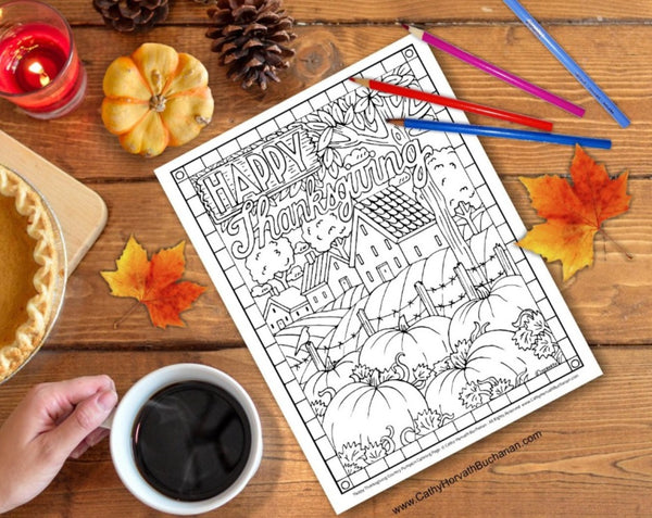 Thanksgiving Pumpkin Farm Coloring Page, PDF Download Printable