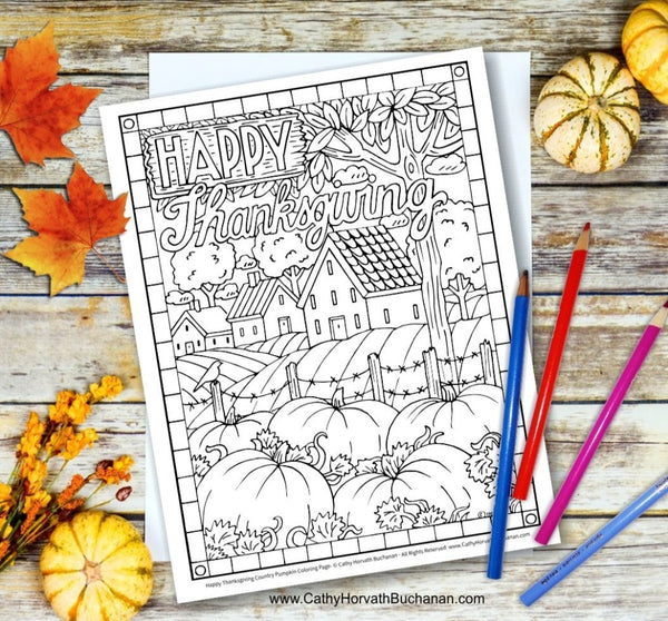thanksgiving coloring page by artist Cathy Horvath Buchanan