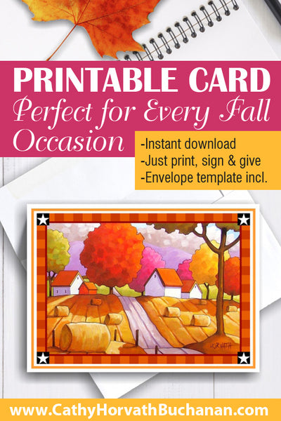 Printable Country Hay Rolls Card kit, PDF Instant Download