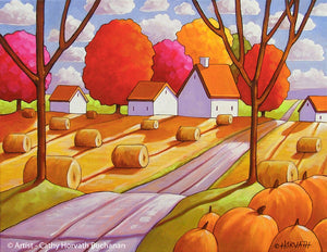 Hay Rolls Pumpkins Harvest Fall Folk Art Print, Thanksgiving Farmhouse Halloween Giclee