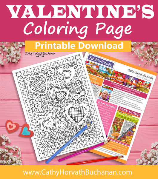 Valentine Stitching Hearts Coloring Page, PDF Download Printable by Cathy Horvath Buchanan