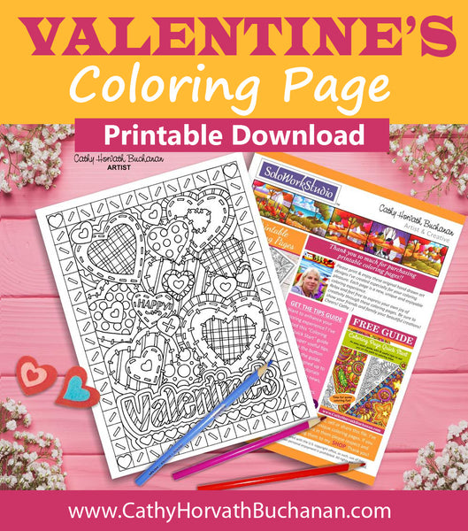 Valentine Stitching Hearts Coloring Page, PDF Instant Download Printable