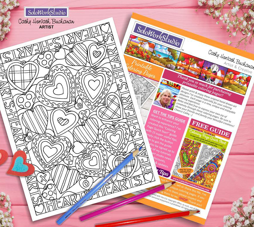 valentine stitches coloring page by artist Cathy Horvath Buchanan
