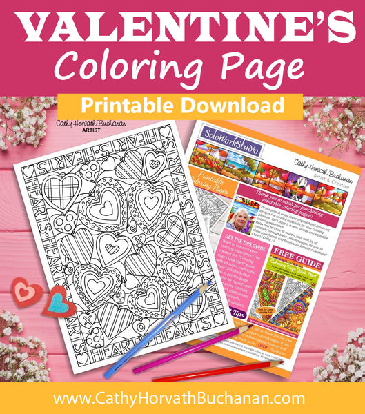 Valentines Many Hearts Coloring Page, PDF Instant Download Printable