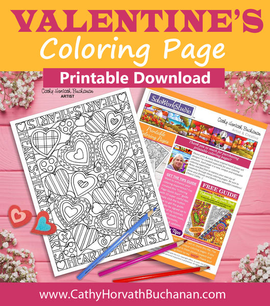 Valentines Many Hearts Coloring Page, PDF Download Printable
