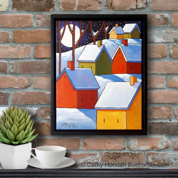Winter Night Cottages Framed Original Painting, Folk Art Snow Landscape 11x14