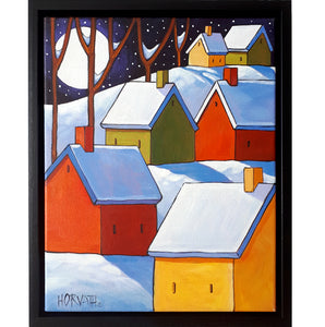 framed painting of a full moon night snow covered colorful homes on hillside by artist Cathy Horvath Buchanan
