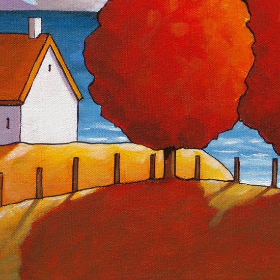Red Tree Ocean 10x12 Original Painting by Cathy Horvath, Fall Cottage Coastal Landscape, Folk Art Autumn Seascape, Acrylic on Canvas Artwork - SoloWorkStudio  - 2