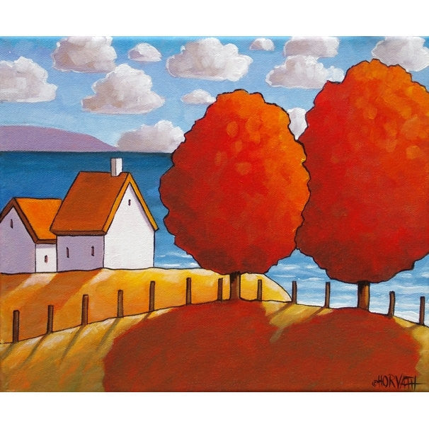 Red Tree Ocean 10x12 Original Painting by Cathy Horvath, Fall Cottage Coastal Landscape, Folk Art Autumn Seascape, Acrylic on Canvas Artwork - SoloWorkStudio  - 1