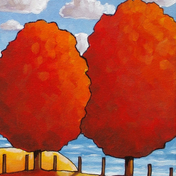 Red Tree Ocean 10x12 Original Painting by Cathy Horvath, Fall Cottage Coastal Landscape, Folk Art Autumn Seascape, Acrylic on Canvas Artwork - SoloWorkStudio  - 3