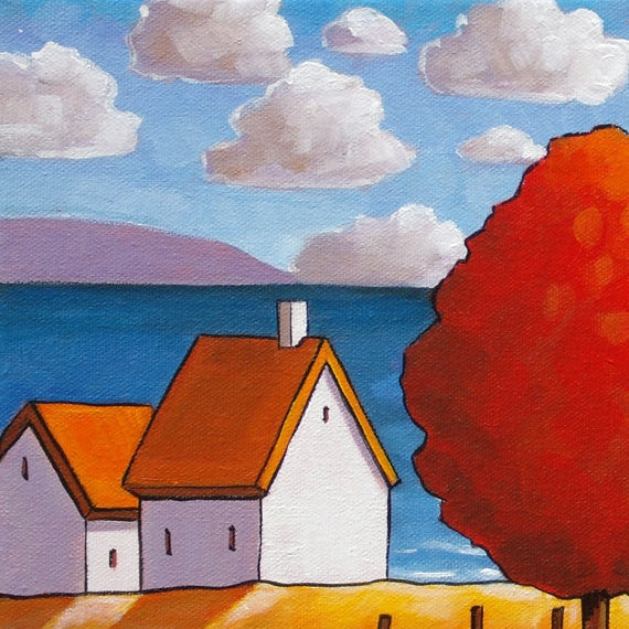 Red Tree Ocean 10x12 Original Painting by Cathy Horvath, Fall Cottage Coastal Landscape, Folk Art Autumn Seascape, Acrylic on Canvas Artwork - SoloWorkStudio  - 4