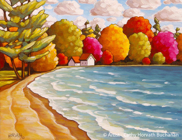Coastal Summer Beach Lake House Giclee Wall Decor Art Print