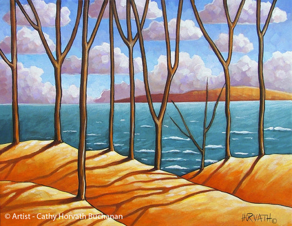 Lakeside Tree Shadows, Coastal Seaside Landscape, Giclee Artwork