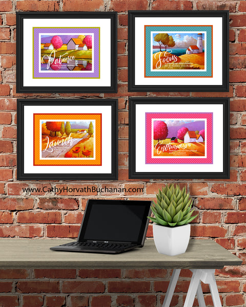 Launch Set of 4 Collection Inspirational Quote Wall Art Printable Download