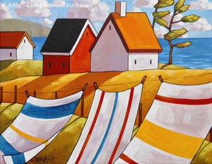 Coastal Beach Towel Folk Art Print, Summer Seaside Breeze Giclee