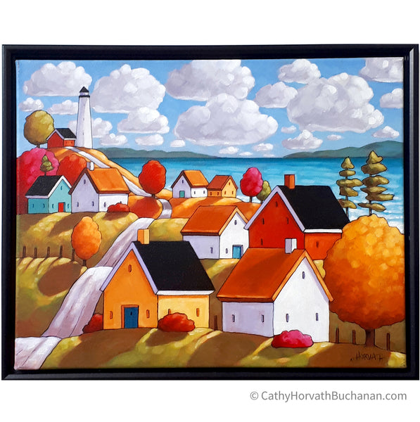Lighthouse Village Framed Original Painting, Coastal Seascape 16x20 by artist Cathy Horvath Buchanan