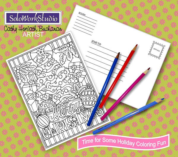 Merry Christmas Coloring Card Kit, Holiday Tree Card + Envelope, PDF Download Printable