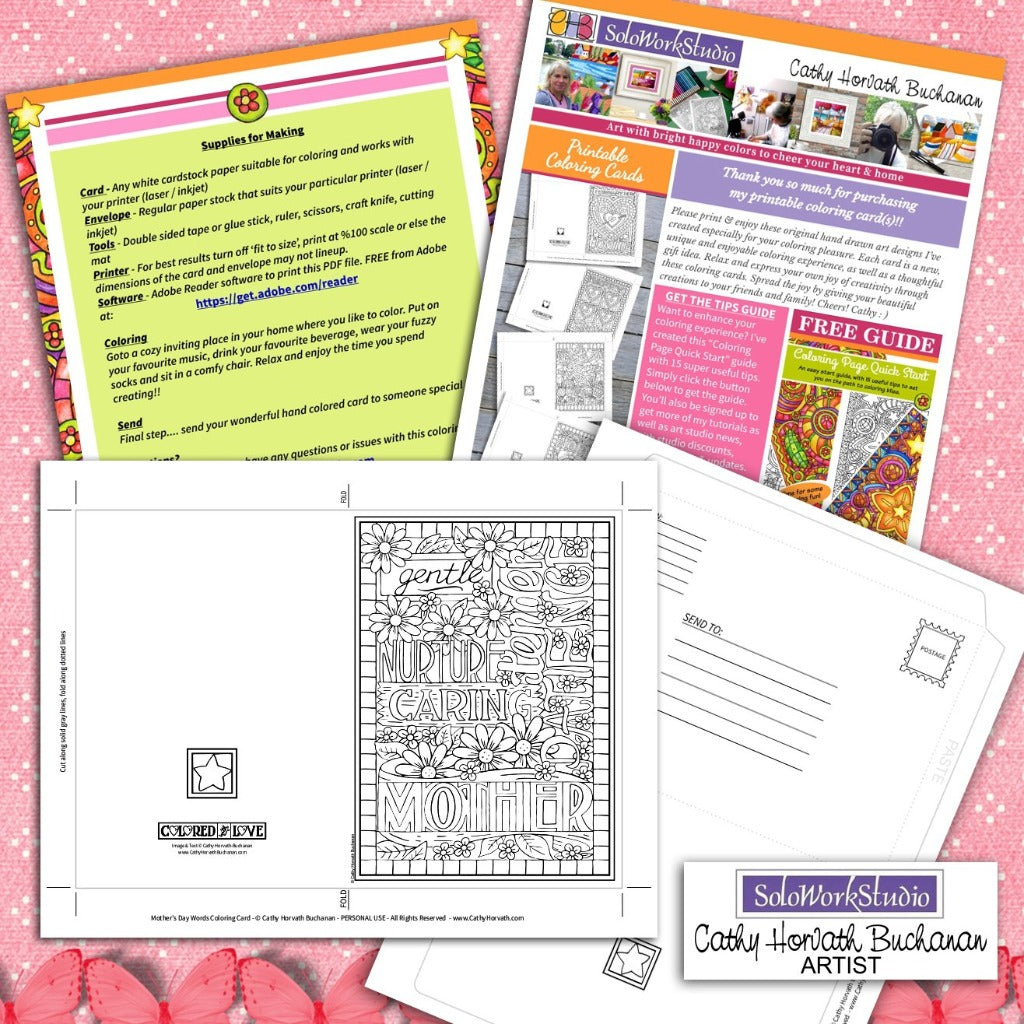 Mothers Day Words Coloring Card Kit, Card + Envelope PDF Download by Cathy Horvath Buchanan