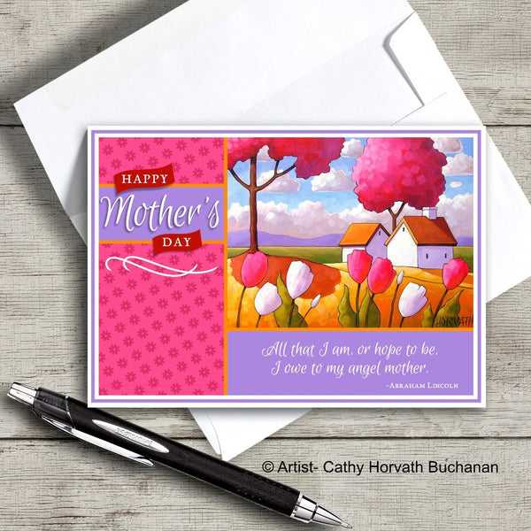 Mothers Day Country Tulips Printable Card Kit, PDF + JPG Instant Download by Cathy Horvath Buchanan