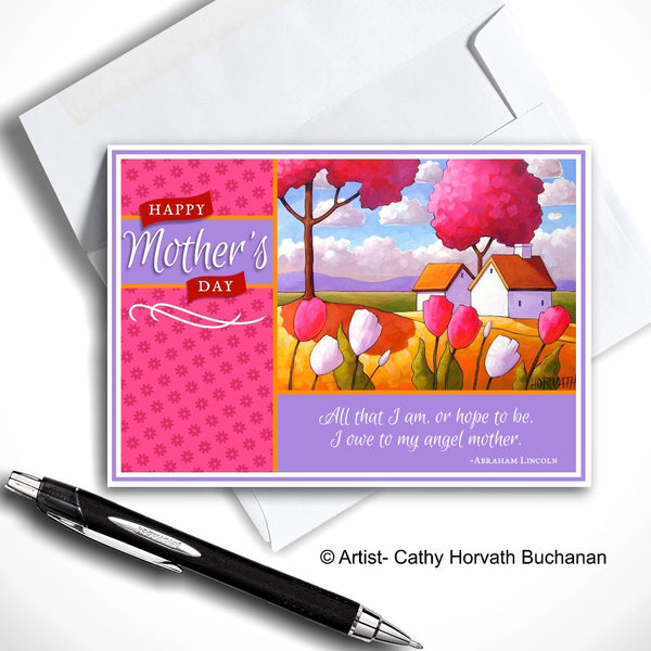 Mothers Day Country Tulips Printable Card, PDF + JPG Instant Download