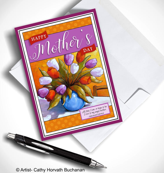 Mothers Day Tulip Vase Printable Card, PDF + JPG Instant Download by Cathy Horvath Buchanan