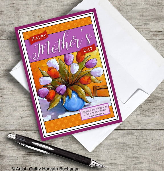 Mothers Day Tulip Vase Printable Card, PDF + JPG Instant Download