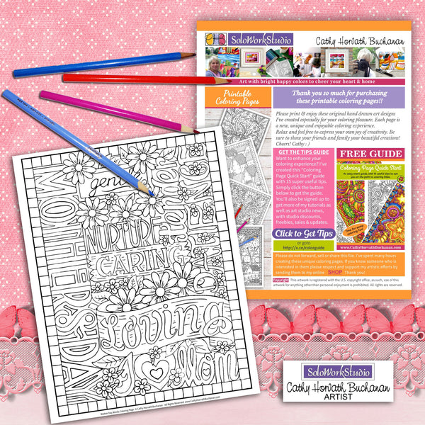 mothers day coloring page printout with pencil crayons artist Cathy Horvath Buchanan