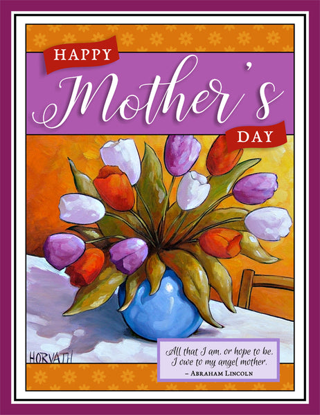 Mothers Day Tulips Printable Wall Art, Instant Digital Download
