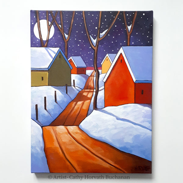 Night Snow Road Framed Original Painting, Winter Snow 12x16