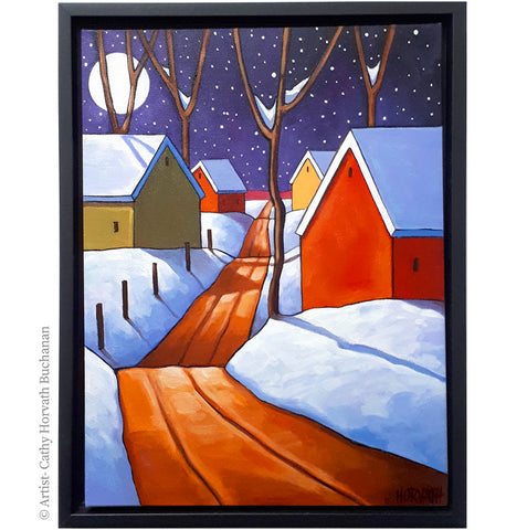 Night Snow Road Framed Original Painting, Winter Snow 12x16 by artist Cathy Horvath Buchanan