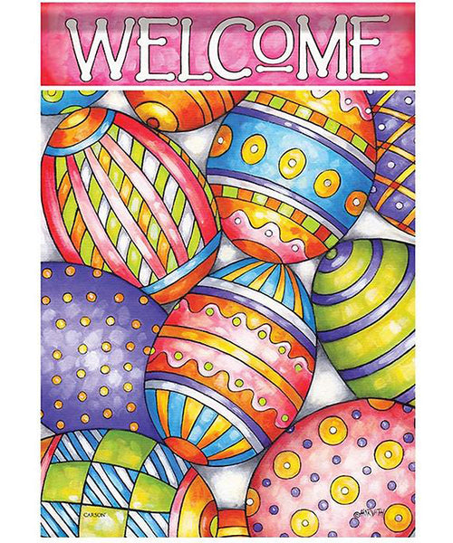 Painted Eggs Easter Garden Flag, Outdoor UV Resistant, Double-Sided