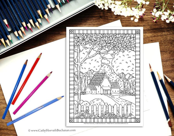 Folk Art Town Country Landscape Coloring Pages 10 Pack , PDF Instant Printable Download
