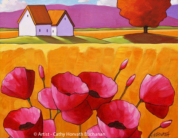 Pink Poppy Flowers Folk Art Print, Summer Floral Country Fields Giclee