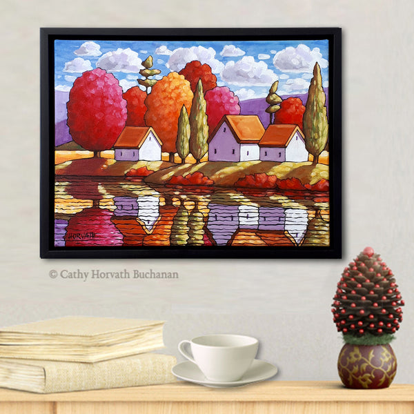 Pink Trees Purple Mountain Waters Original Painting in a settings