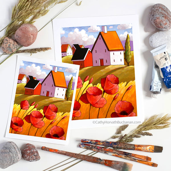 Countryside Poppies Scenery - Art Print flat lay