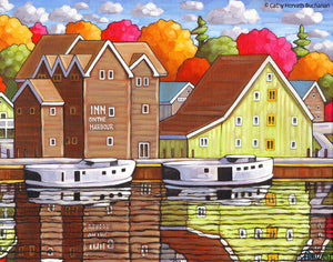 Port Stanley Inn on the Harbor, Scenic Coastal Lake View Folk Art Print