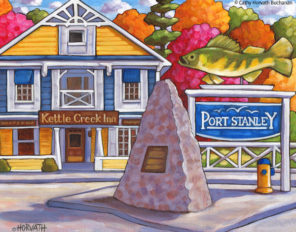 Set of 4 Art Prints, Port Stanley Classic Views, Lakefront Folk Art