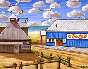 Port Stanley Mackies on the Beach, Historic Coastal Lakefront View Art Print