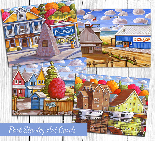 Port Stanley Harbour Inn Scene Art Card, 5x7 Greeting Card