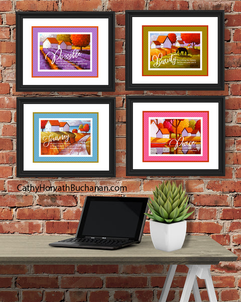 Possible Set of 4 Collection Inspirational Quote Wall Art Printable Download
