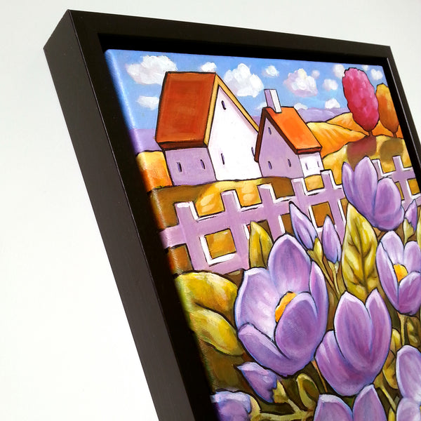 Purple Country Blooms, Framed Original Painting, Flower Garden Landscape 11x14